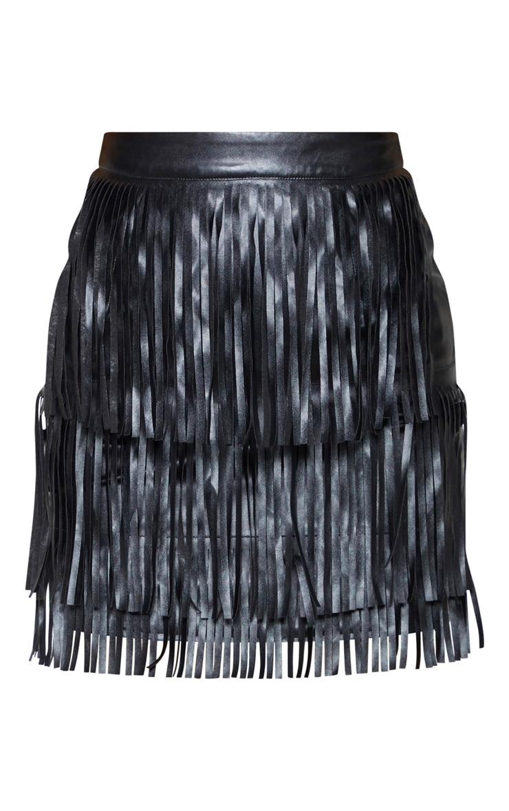 Black Faux Leather Fringe Front Mini Skirt  4