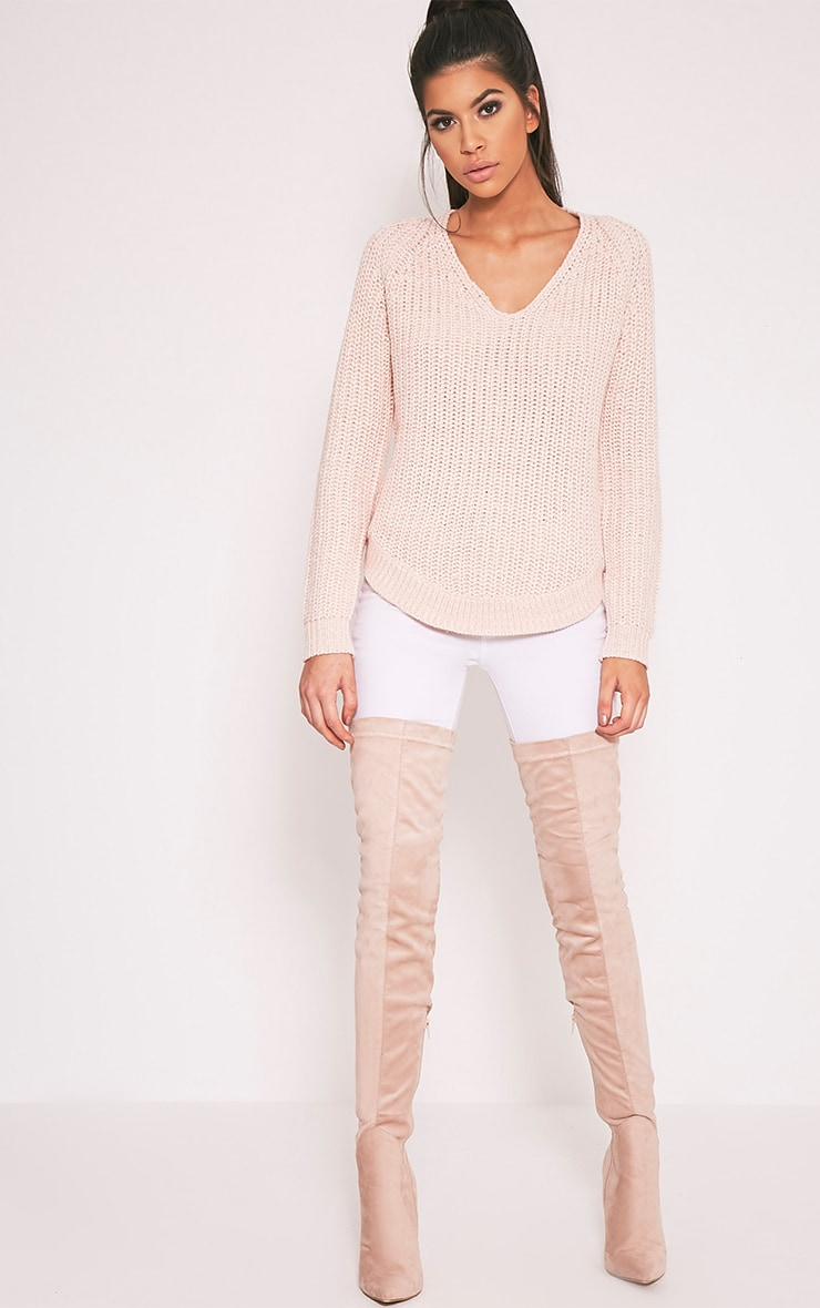 Elania Pink V Neck Cable Knit Jumper 5