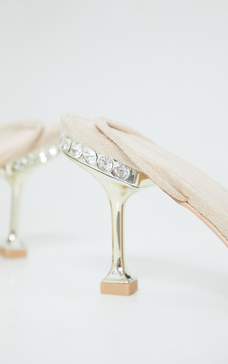 Nude High Metal Jewel Cake Stand Slingback Sandals 4