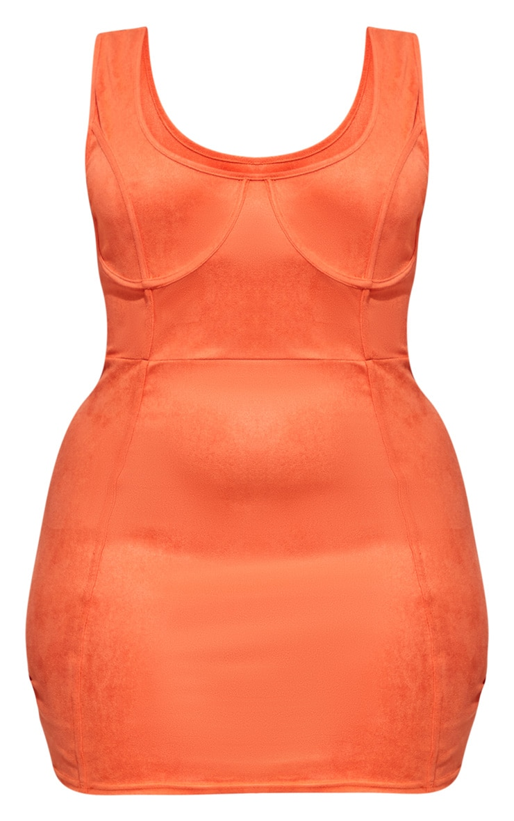 Plus Orange Faux Suede Cup Detail Bodycon Dress 3