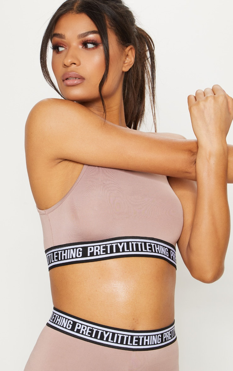 PRETTYLITTLETHING Taupe Racer Neck Sports Crop Top 6