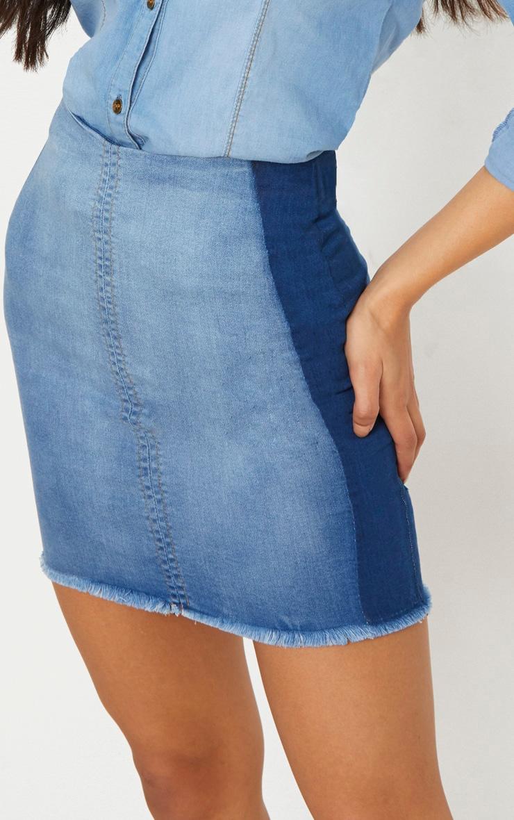 Mid Wash Contrast Stretch Denim Skirt 5