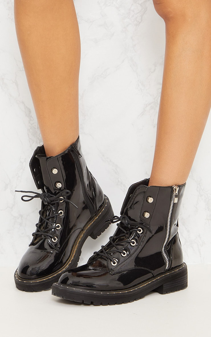 Black Chunky Lace Up Boot 3