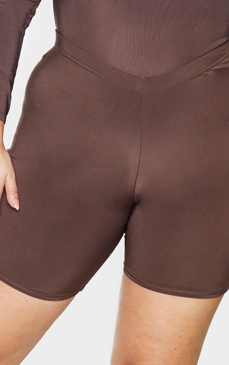 Plus Dark Brown Slinky Cycle Shorts 5