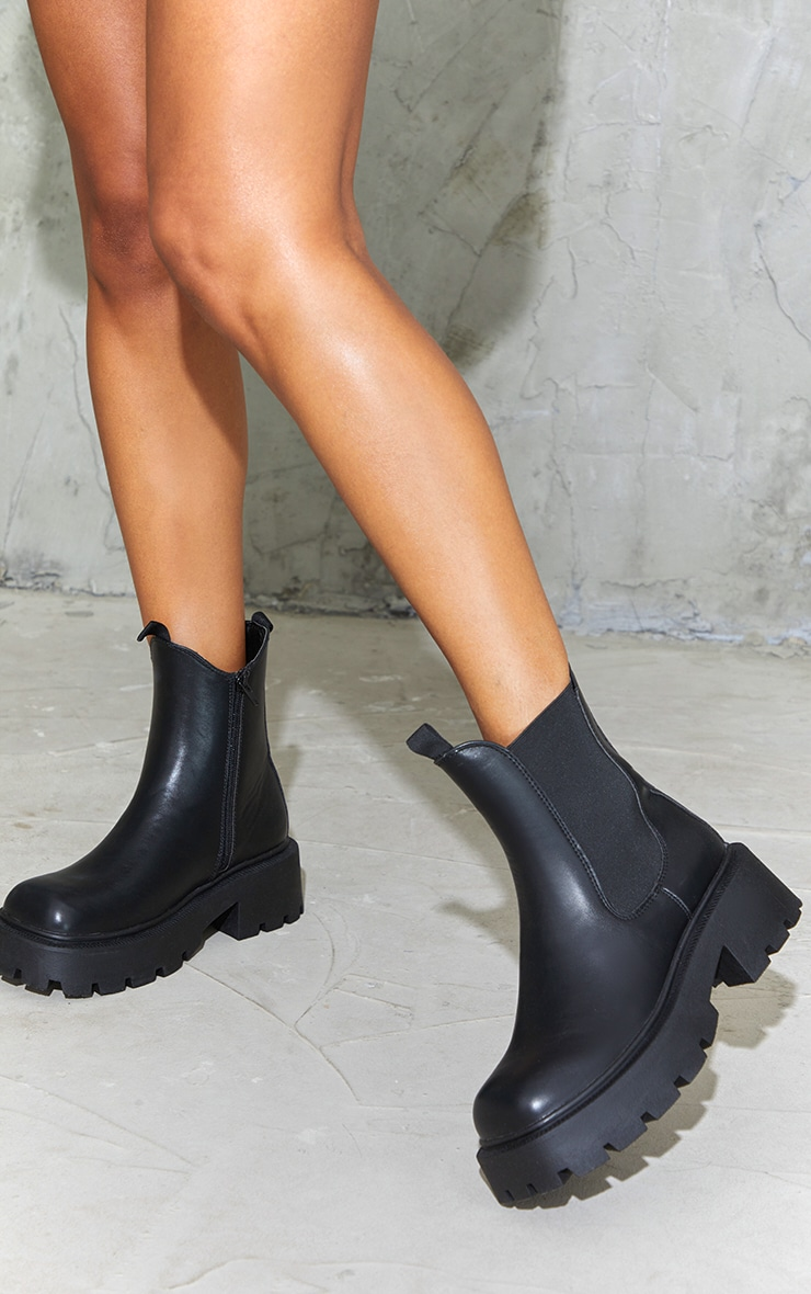 Black Chunky Chelsea Boots 2