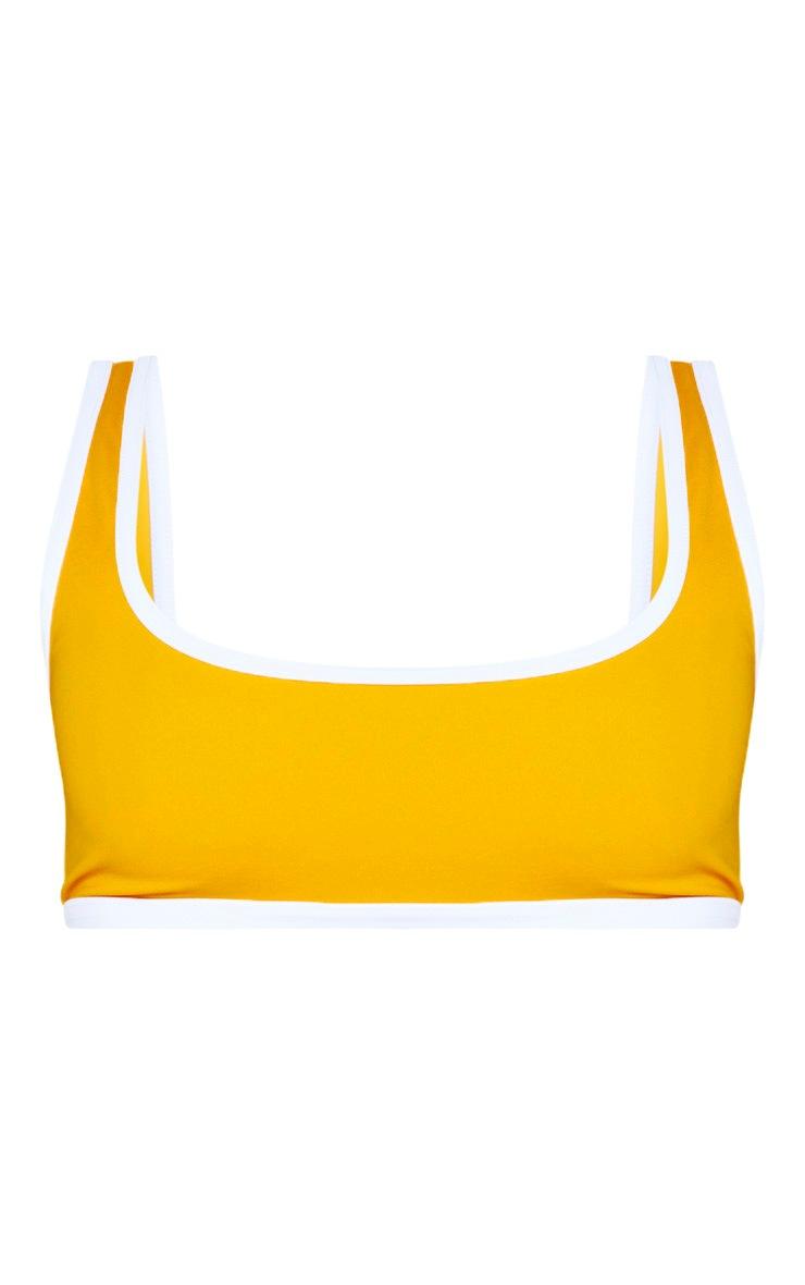 Orange Recycled Contrast Scoop Neck Bikini Top 3