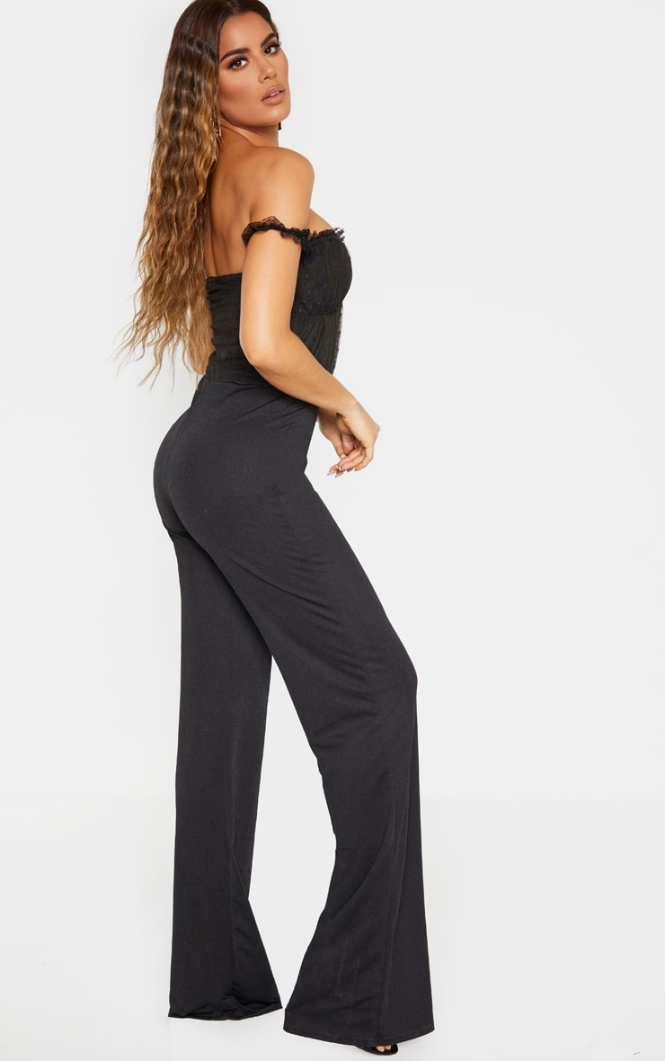 Tall Black Dobby Mesh Bardot Wide Leg Jumpsuit 2