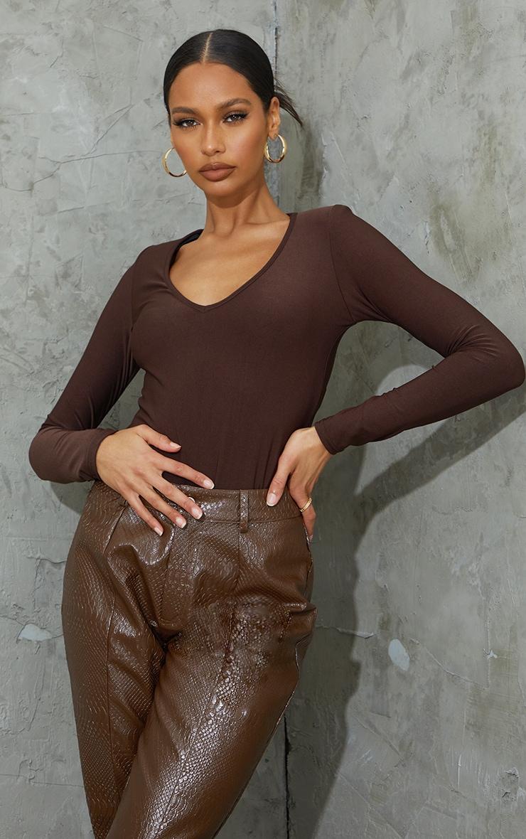 Chocolate Slinky Plunge Shoulder Pad Long Sleeve Bodysuit 1