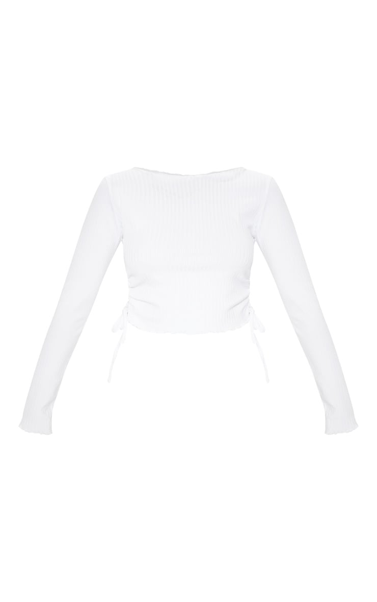 White Rib Ruched Side Long Sleeve Top 3