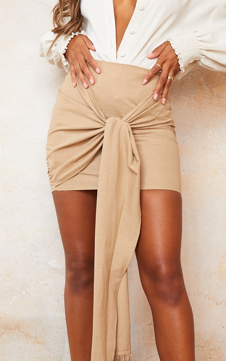 Sand Linen Feel Ruched Bum Extreme Tie Detail Mini Skirt 5