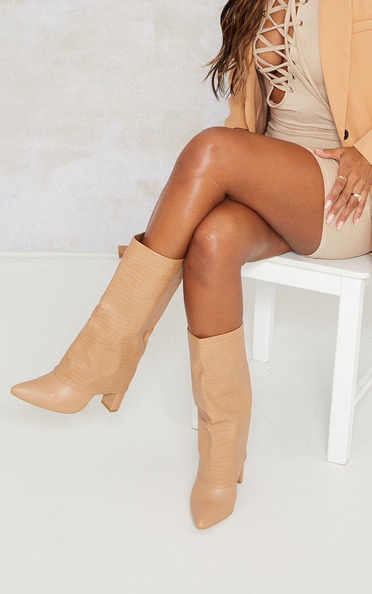 Camel Wide Fit Fold Over Block Heel Knee Boots 1