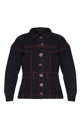 Black Contrast Stitch Tortoise Button Denim Jacket 3