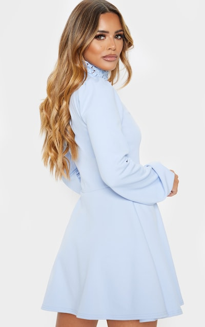 Petite Baby Blue Lace Trim Long Sleeve Skater Dress