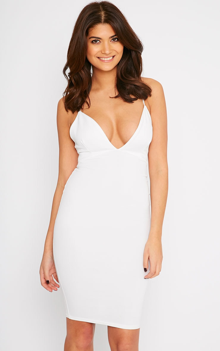 Nada Cream Plunge Cross Back Midi Dress 4