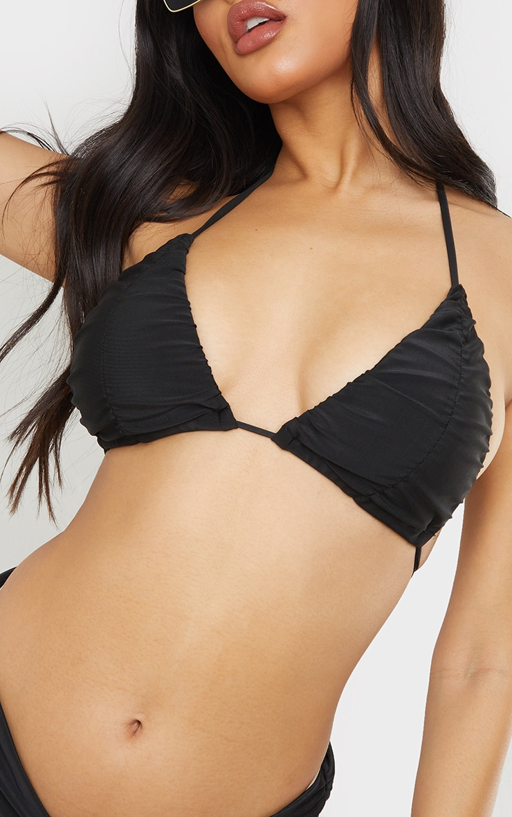 Black Ruched Cup Padded Triangle Bikini Top 4