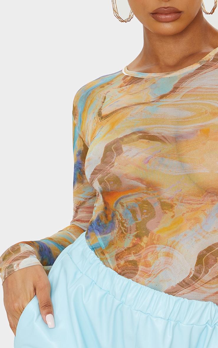 Orange Abstract Marble Printed Mesh Bodysuit 4