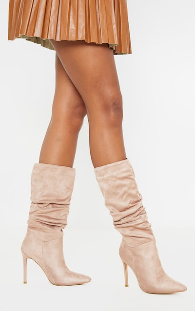 Taupe Point Slouch Calf Boot