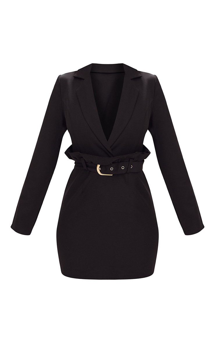 Black Frill Waist Belted Blazer Dress 4