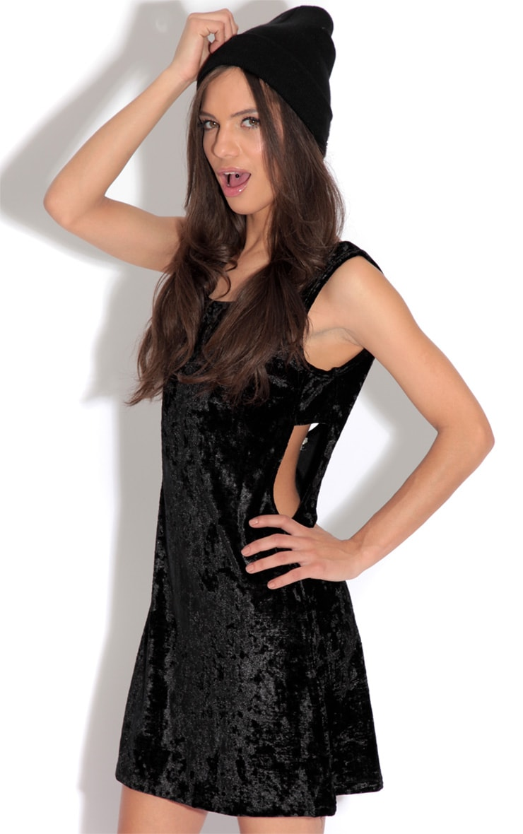 Gina Black Velvet Cut Out Swing Dress 1