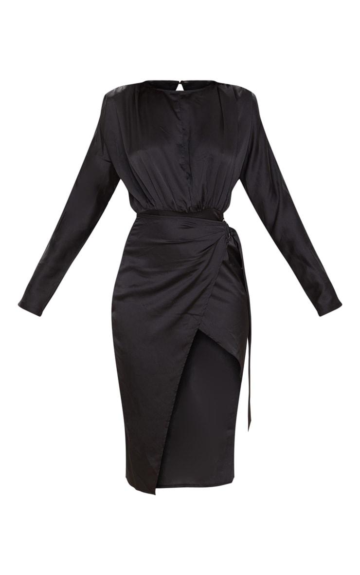 Black Satin Wrap Skirt Backless Midi Dress 3