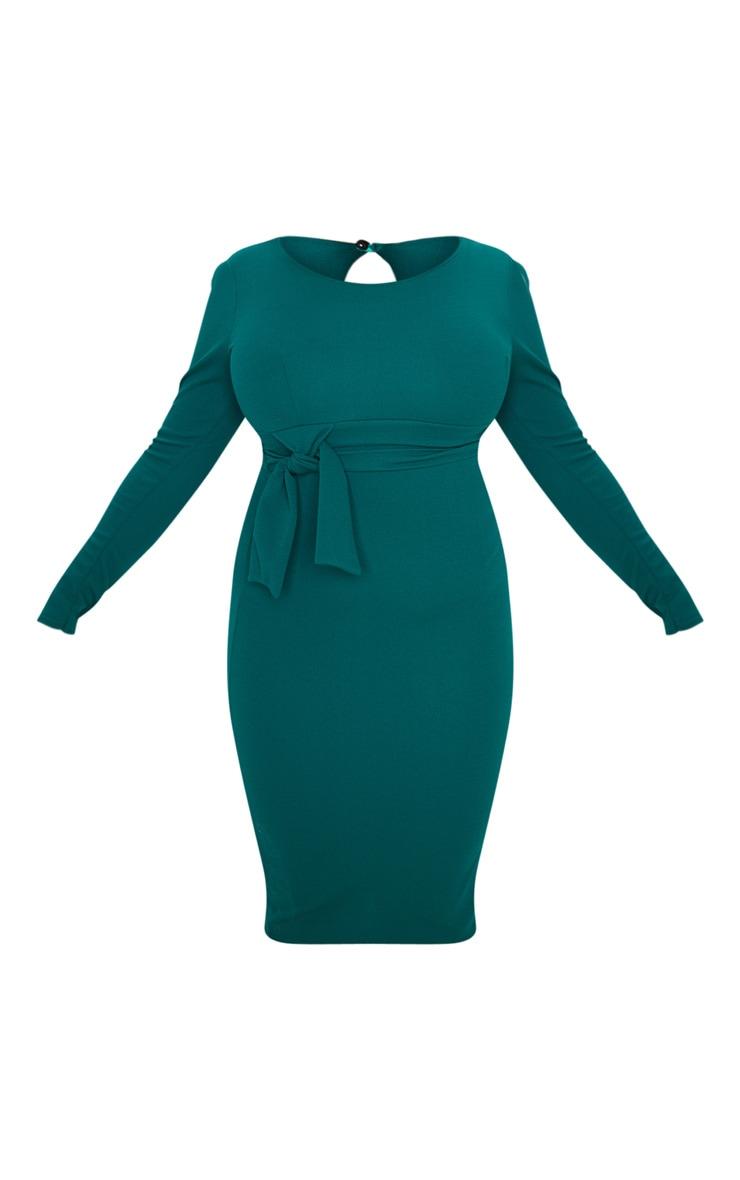 Plus Emerald Green Long Sleeve Wrap Waist Midi Dress 3