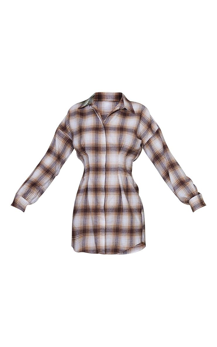 Stone Check Fitted Waist Long Sleeve Shirt Dress 5