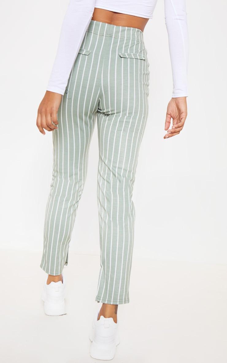 Sage Green Jacquard Pinstripe Split Hem Skinny Trouser 3