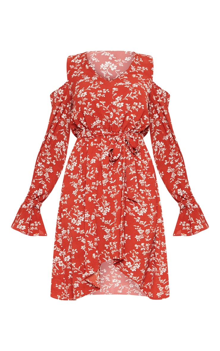 Rust Ditsy Floral Shoulder Frill Midi Dress 3