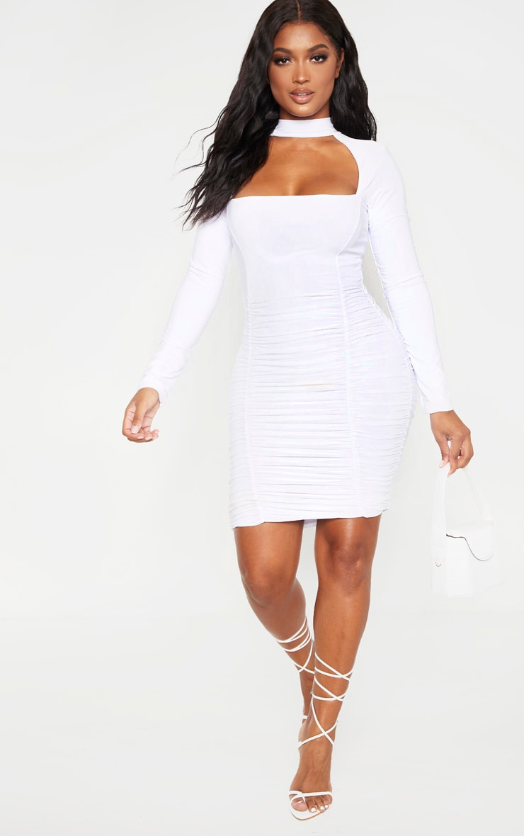 Shape White Long Sleeve Cut Out Ruched Bodycon Dress 4