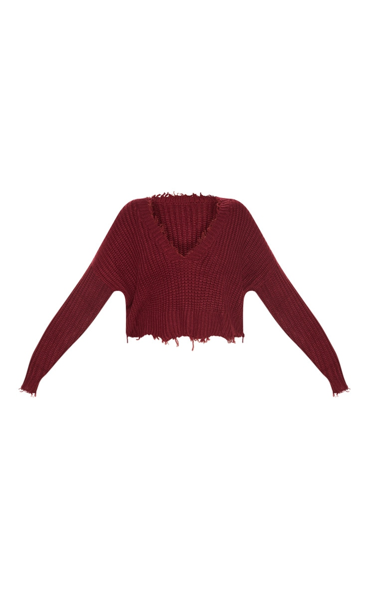 Burgundy Fringe Hem Knitted Sweater  3