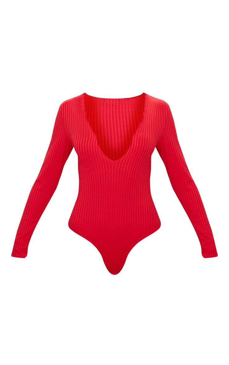 Red Rib Frill Detail Plunge Thong Bodysuit 3