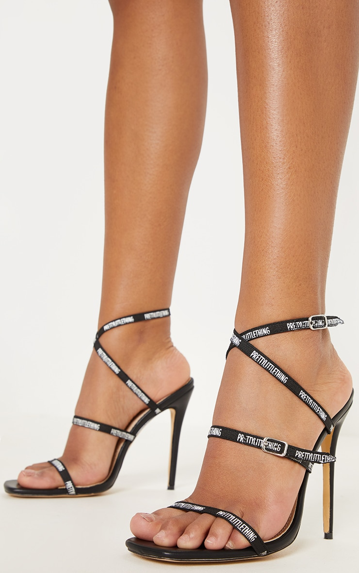 PRETTYLITTLETHING Black Strappy Square Toe Heel 2