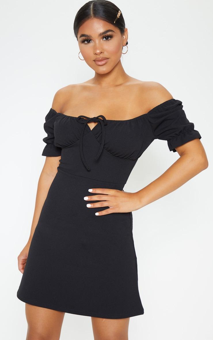 Petite Black Bardot Puff Sleeve Tie Front Mini Dress 1