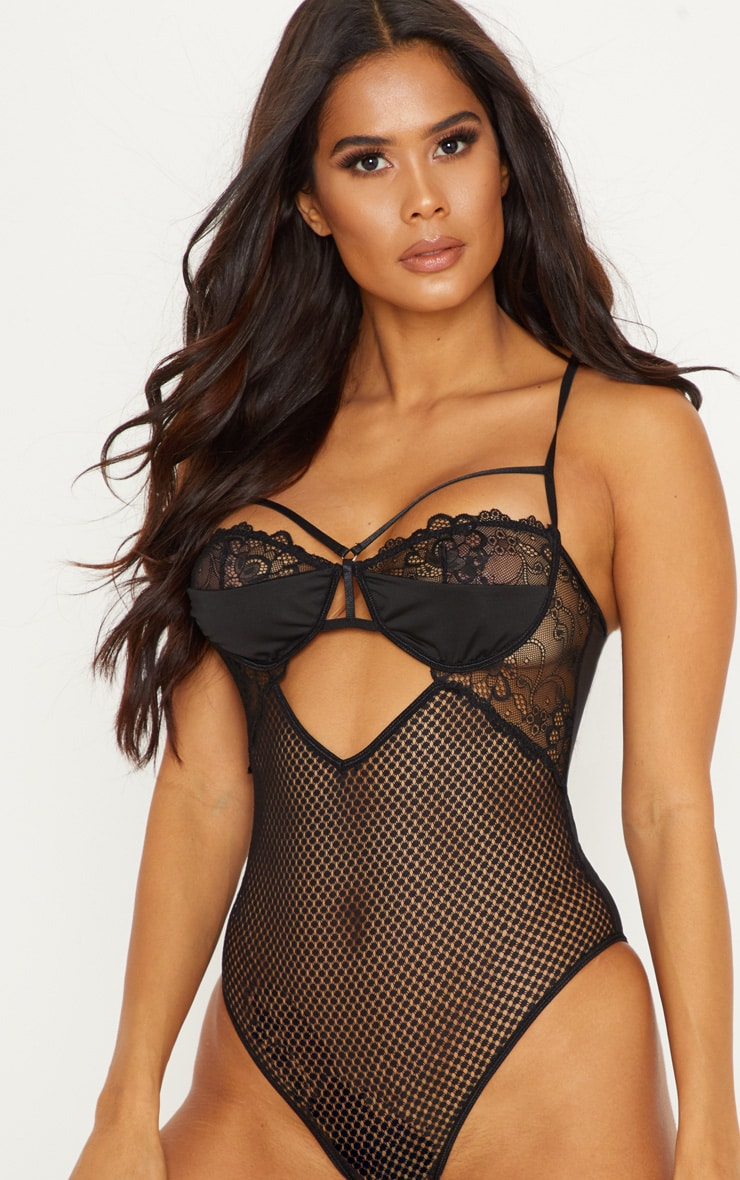 Black Mixed Lace Mesh Back Harness Body