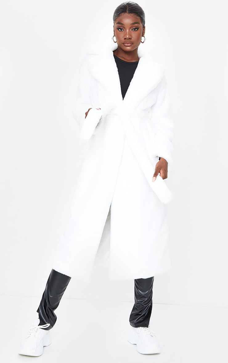 Tall White Belted Faux Fur Coat 1