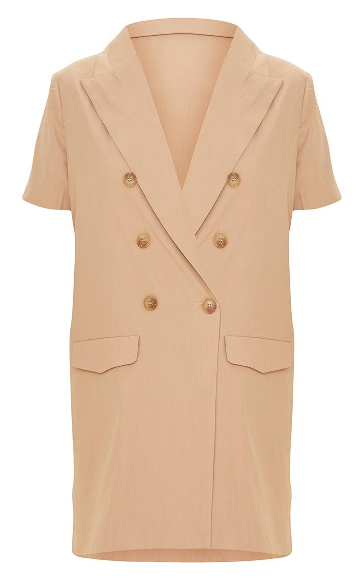 Beige Woven Short Sleeve Longline Blazer 5