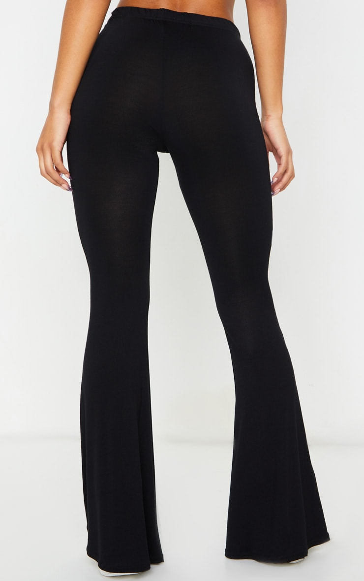 Basic Black Jersey Flared Pants 3