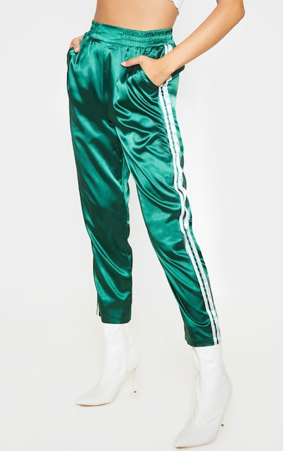Emerald Green Satin Side Stripe Boxer Joggers