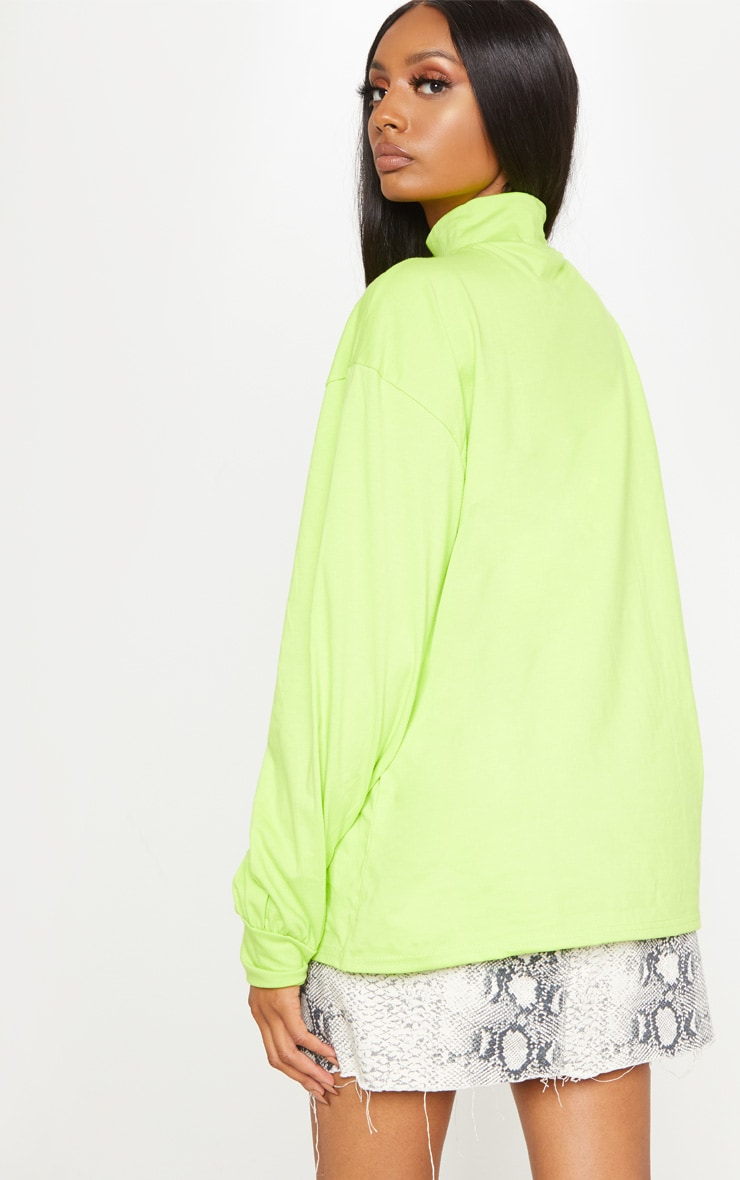 Neon Lime Oversized Roll Neck Top 2