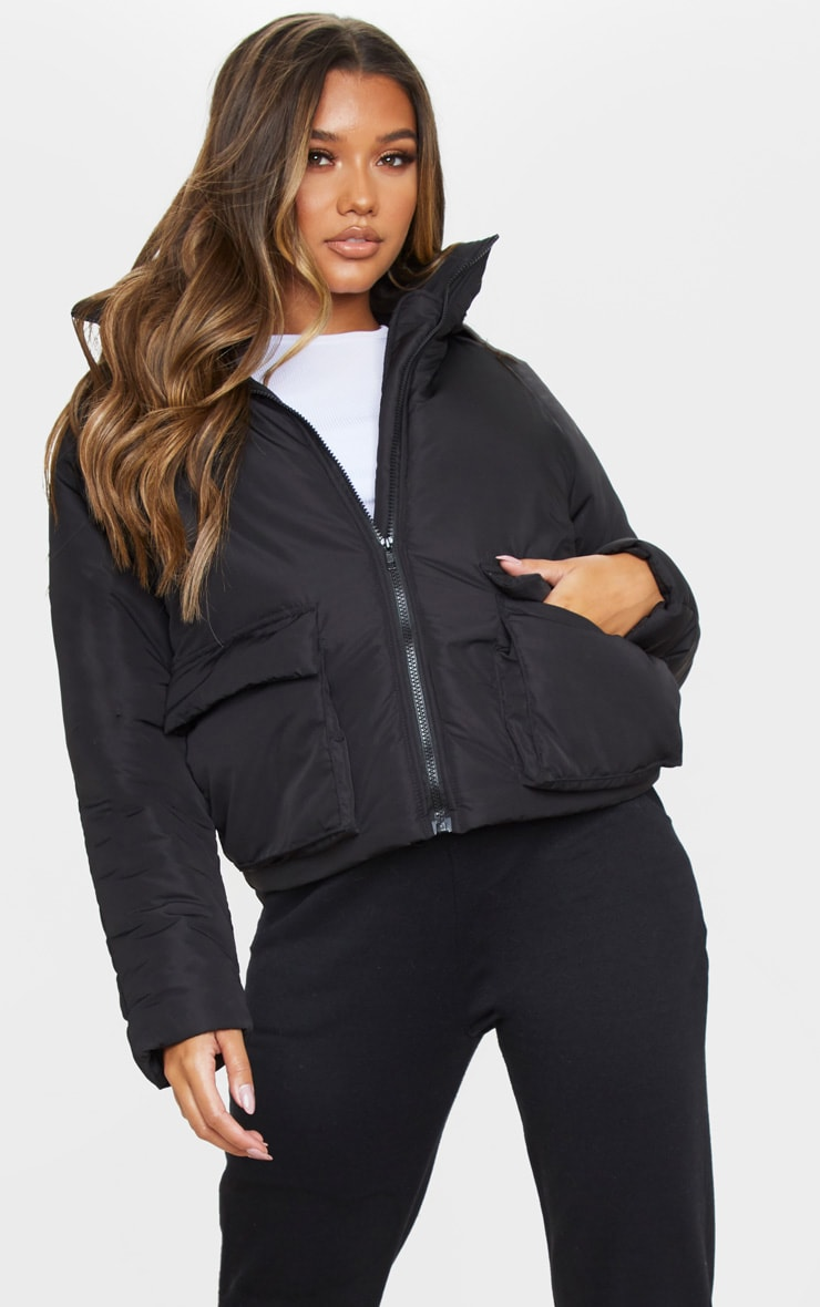 Black Basic Hooded Puffer 1