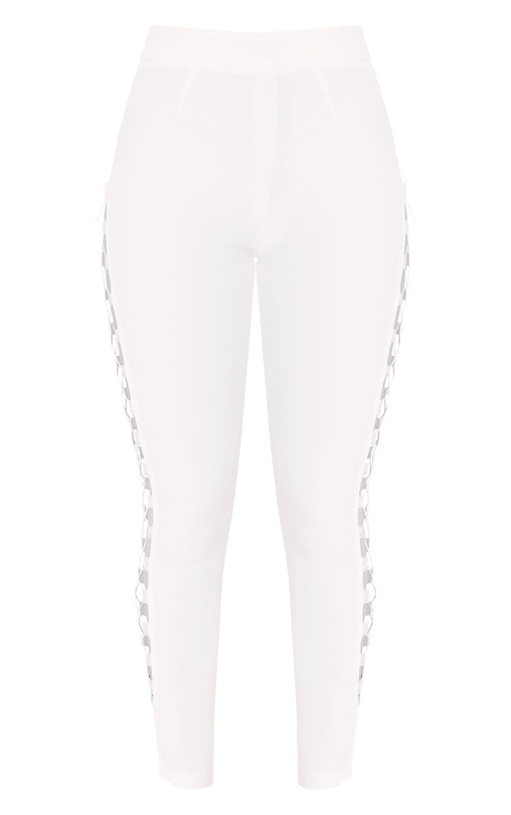 Anetta White Lace Up Side Skinny Trousers 3