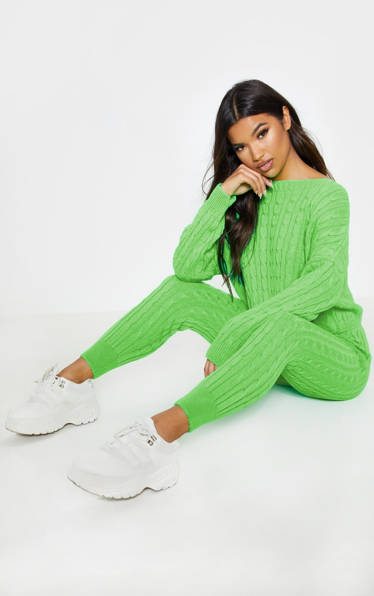 Neon Lime Cable Knit Jumper & Legging Set 4
