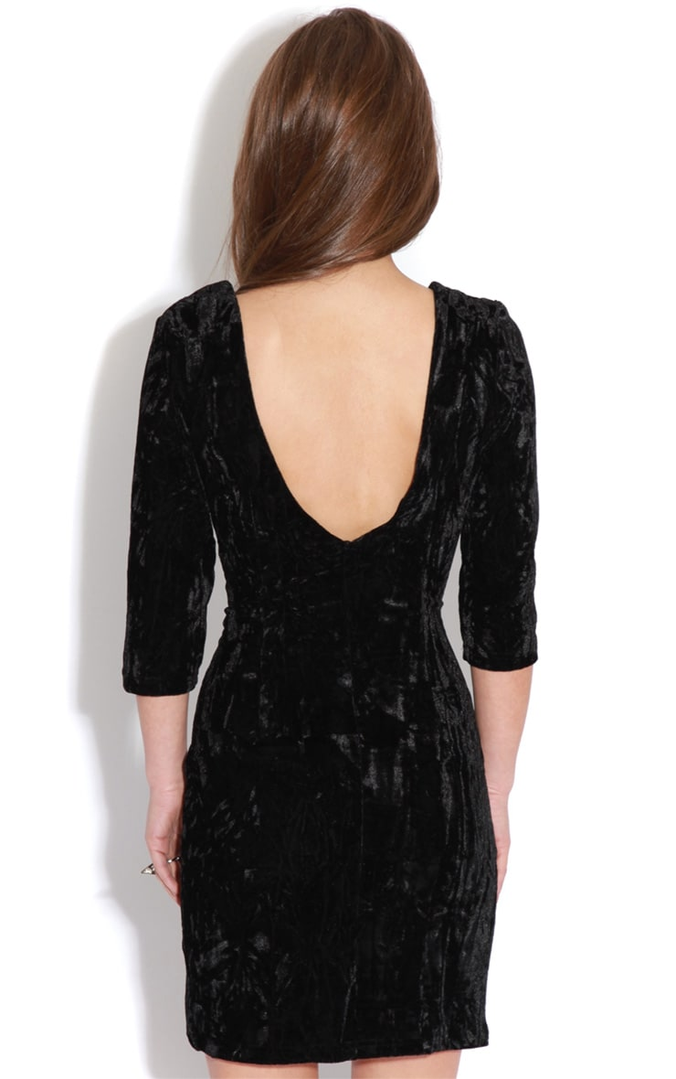 Isabella Black Crushed Velvet Crossover Dress 2