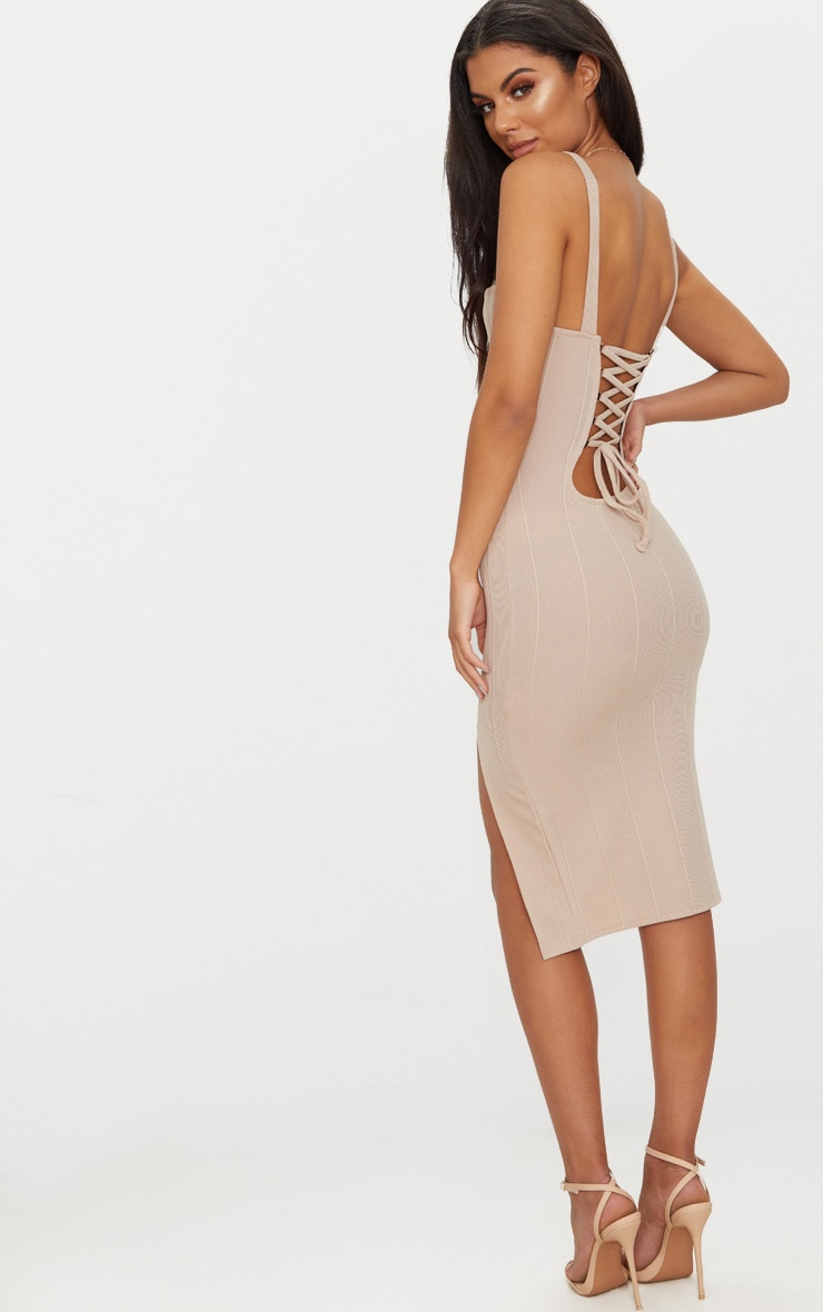 Stone Bandage Lace Up Back Midi Dress 1