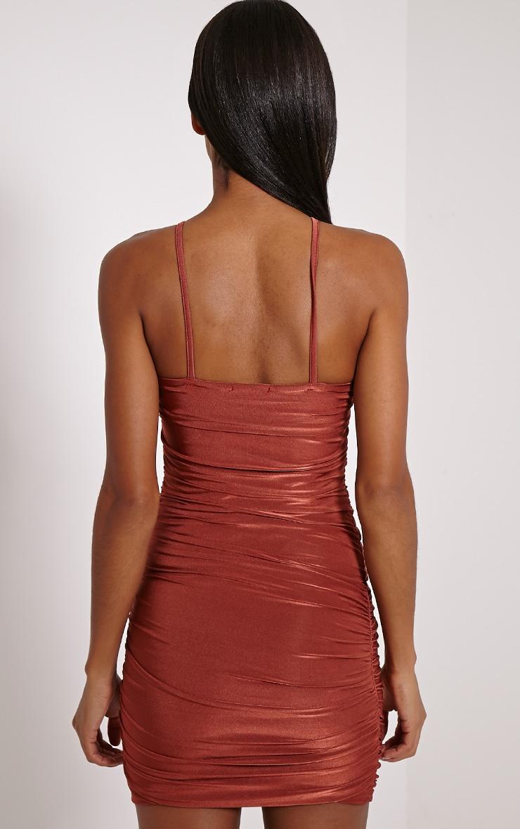 Palia Rust Slinky Tie Neck Mini Dress 2