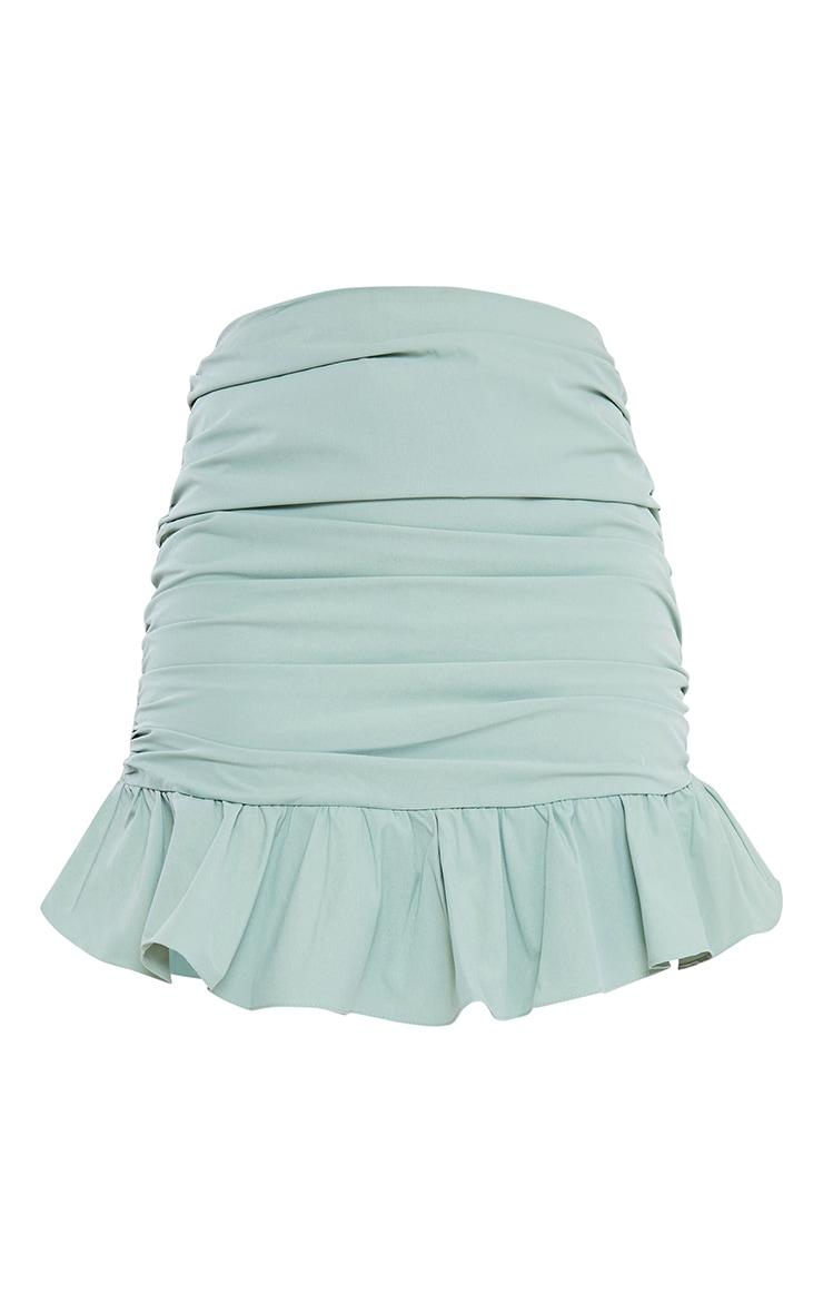 Sage Green Woven Asymmetric Frill Hem Mini Skirt 6