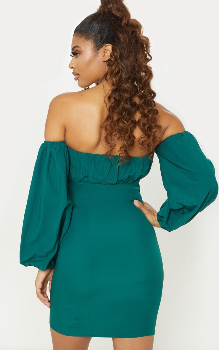 Tall Emerald Green Eyelet Puff Sleeve Bodycon Dress 2