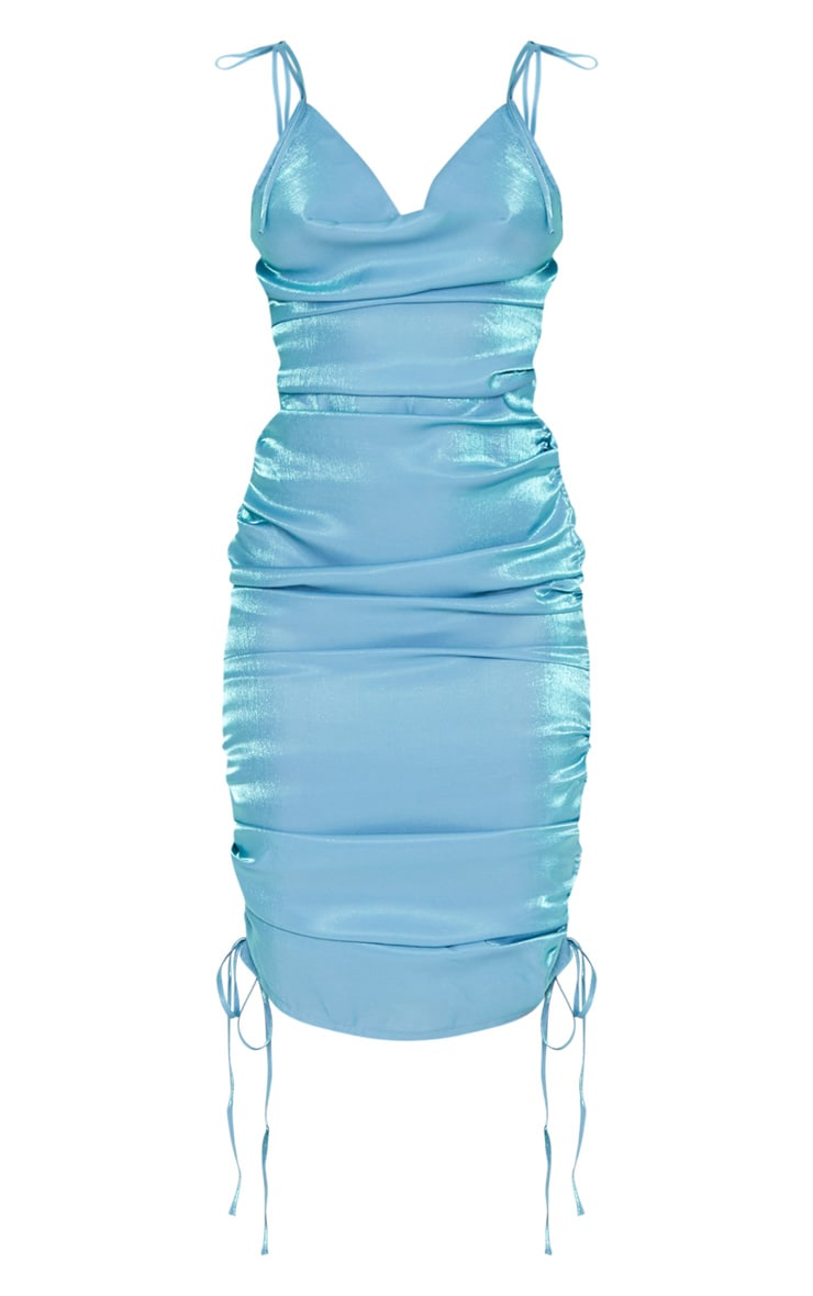 Blue Metallic Shimmer Cowl Neck Tie Strap Midi Dress 3