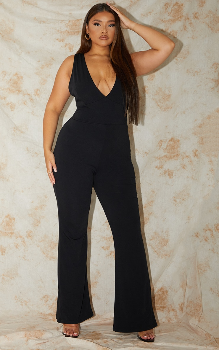 Plus Recycled Black Contour Jersey Flared Jumpsuit 1