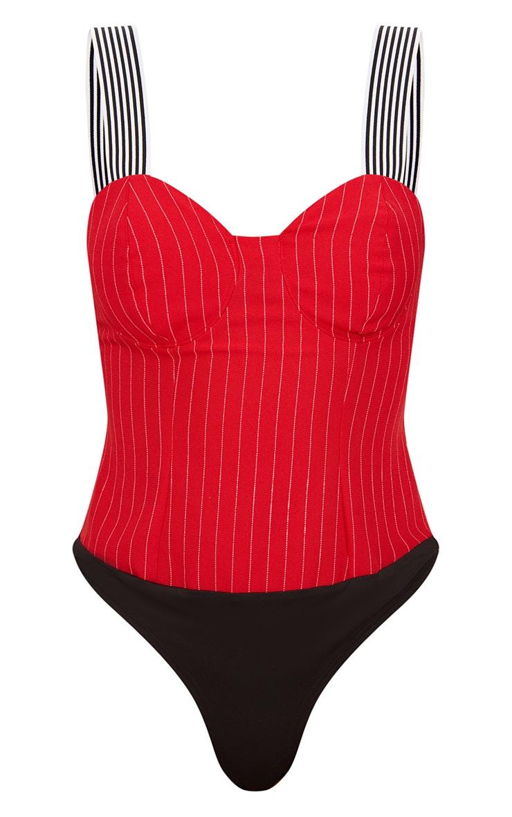 Red Pinstripe Cup Detail Thong Bodysuit  3